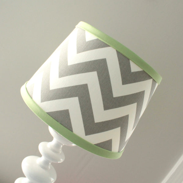 Gray & Light Green Chevron Lamp Shade