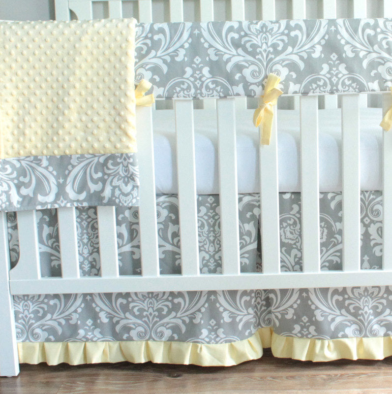Gray & Yellow Damask Crib Rail Bedding set.