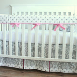 Custom Crib set. Gray and Candy Pink Damask Crib Rail Bedding set