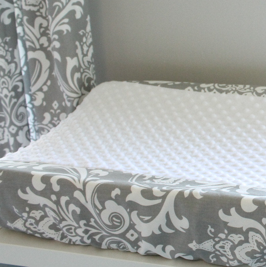 Gray damask  contour cover