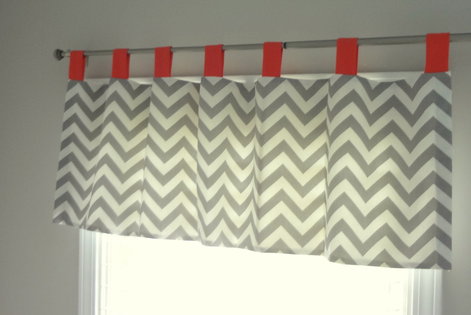Custom nursery Tab Top Chevron valance. Available in other collections.