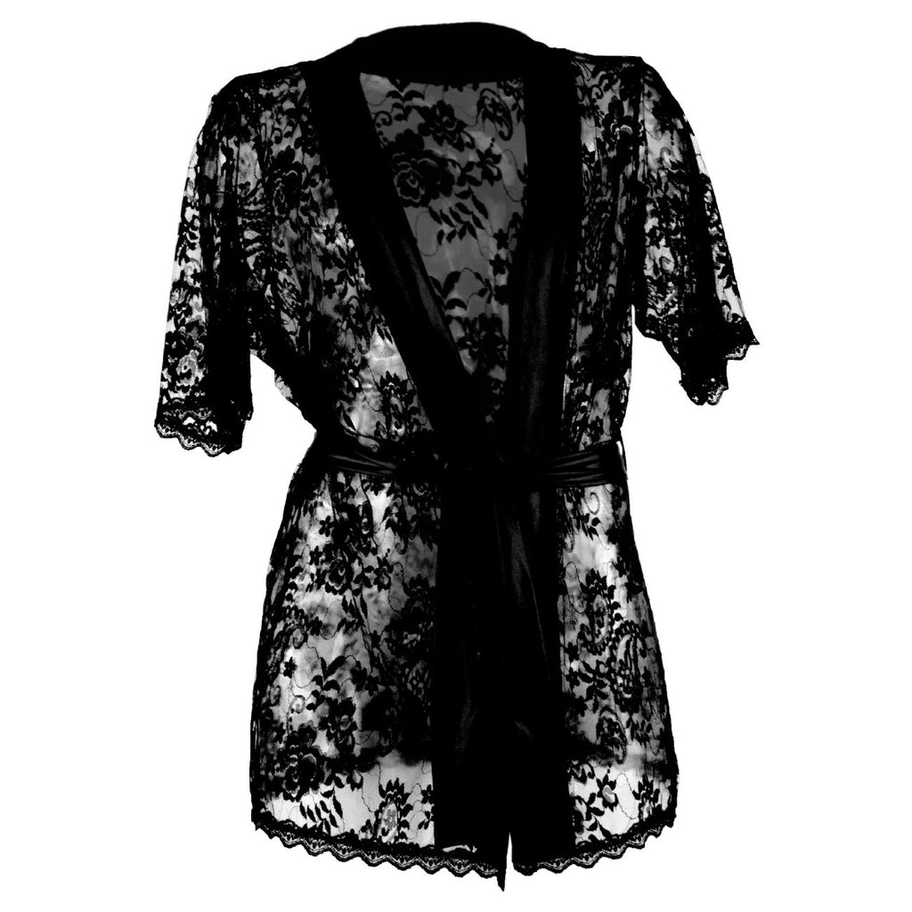 CandyMan 99322 Lace Kimono with Thong Color Black