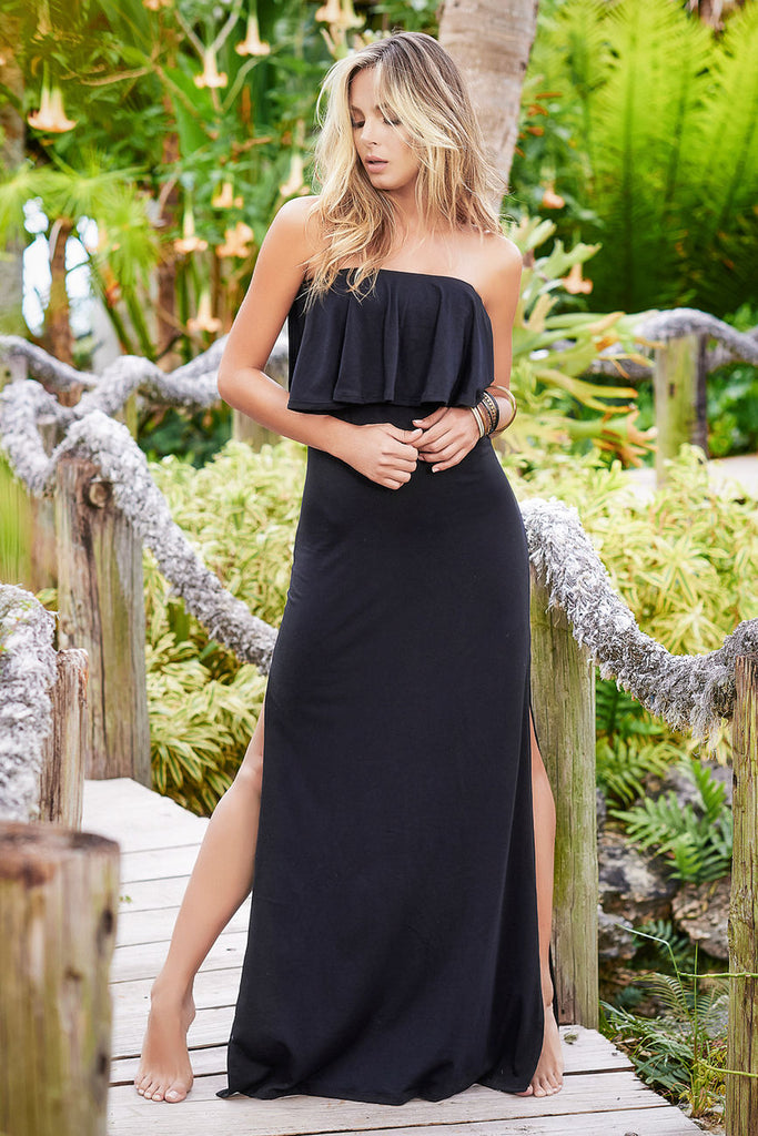 Mapale 4975 Removable and Adjustable Straps Long Dress Color Black
