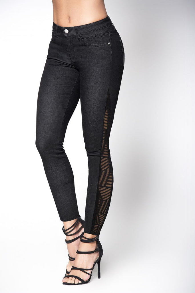 Mapale D1915 Butt Lifting Jeans with Mesh Detail Color Black
