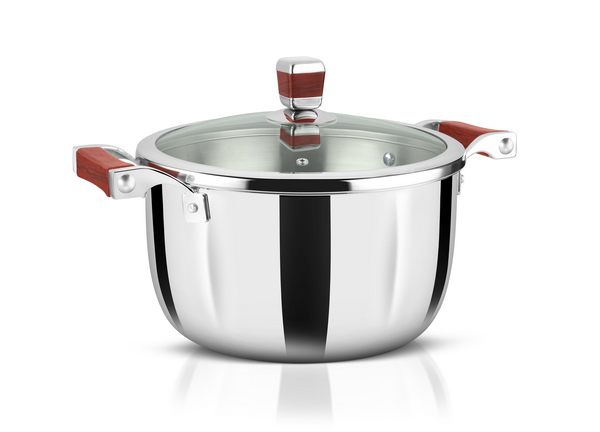 WholeBodyClad Stainless Steel Triply Casserole Cooking Pot with Glass Lid.