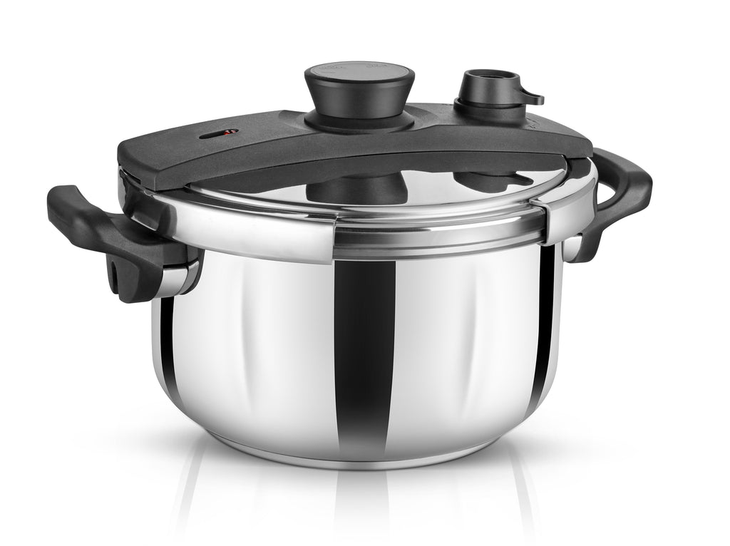 Stainless Steel Pressure Cooker with Unique Lid.
