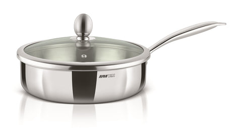 WholeBodyClad Triply Stainless Steel Saute Pan with Glass Lid