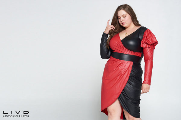 plus size faux leather dress in black and red colorblock plus size fashion