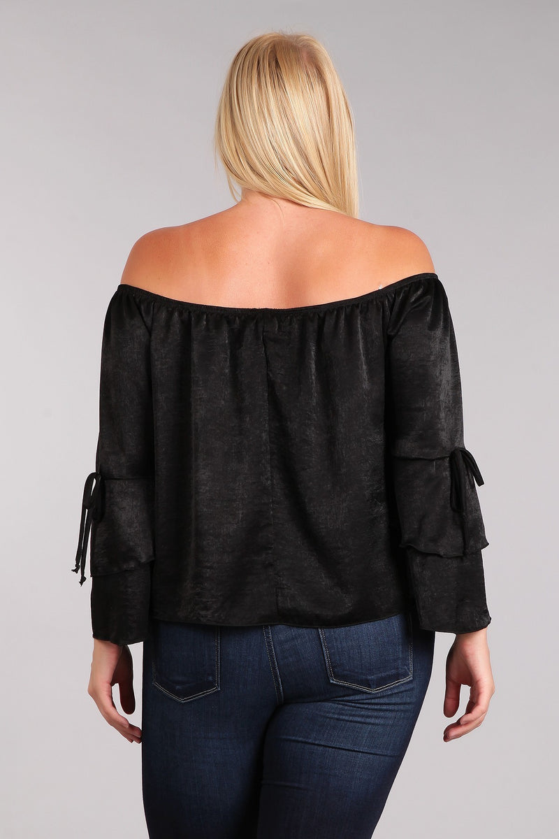 Women's Plus Size Off Shoulder Tiered Bell Sleeve Top