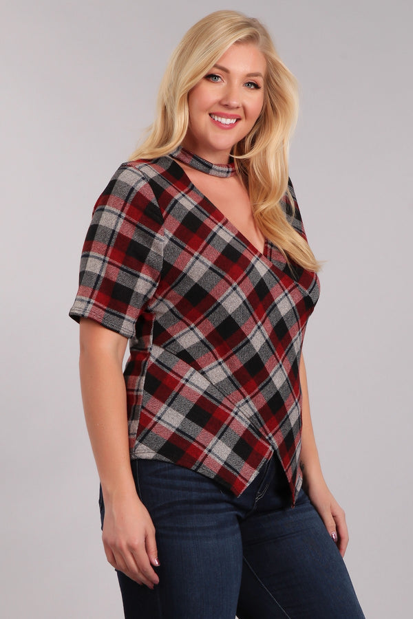 Women's Plus Size Plaid Wrap Top