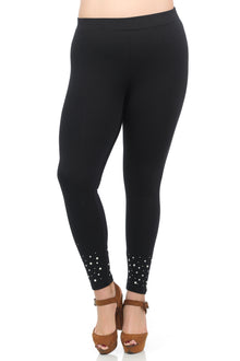 Premium Leggings w/ Pearls in Black