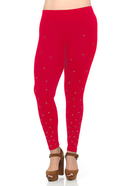 Women's Plus Size Star Studded Ponte Leggings