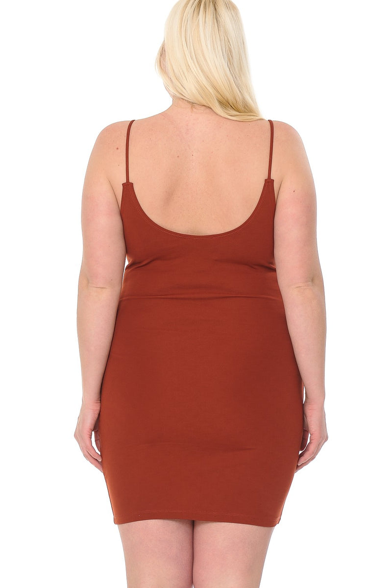 L I V D LIVD plus size junior womens bodycon scoop neck clubbing dress in rust orange terracotta asoph buxom curvy couture ashley stewart rue 21