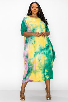 livd apparel contemporary plus size fashion boutique midi harem t shirt dress in green yellow tie dye