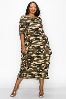 livd apparel plus size contemporary boutique camo harem midi dress with pockets