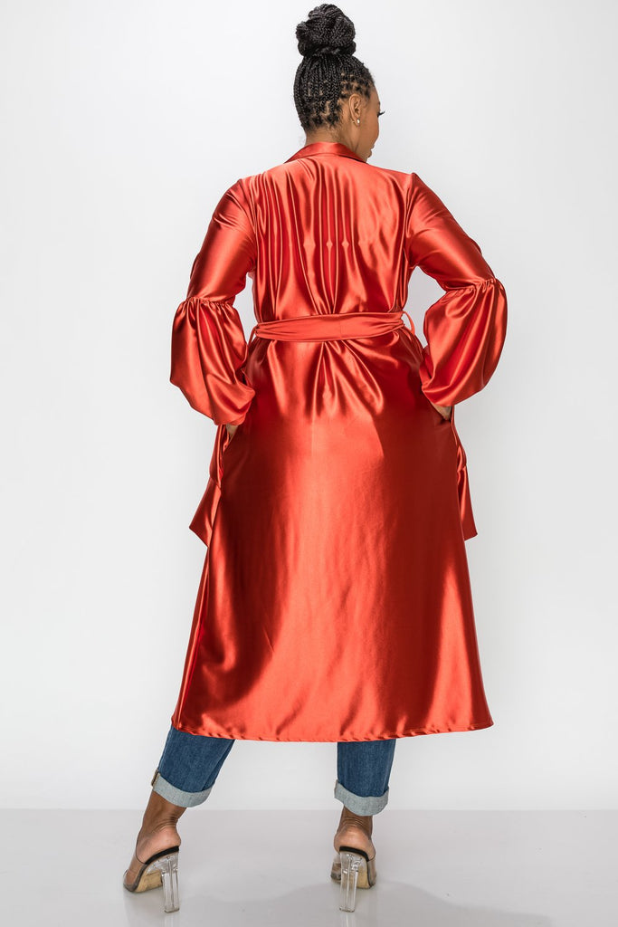 livd L I V D women's contemporary plus size belt tie satin coat in rust orange