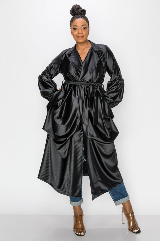 livd L I V D contemporary women's plus size satin coat with belt tie in black