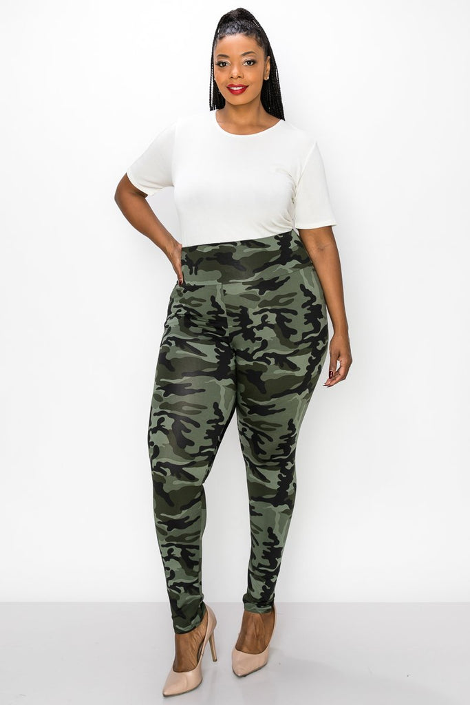 livd women's plus size contemporary boutique camo high waisted legging in green