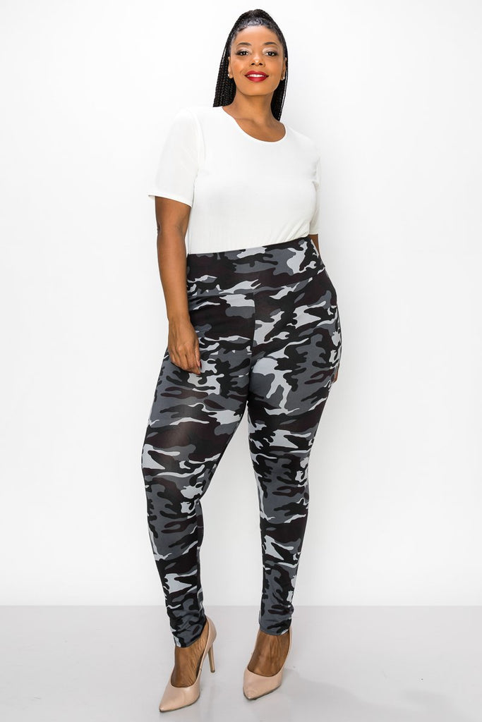 livd women's plus size contemporary boutique camo high waisted legging in white