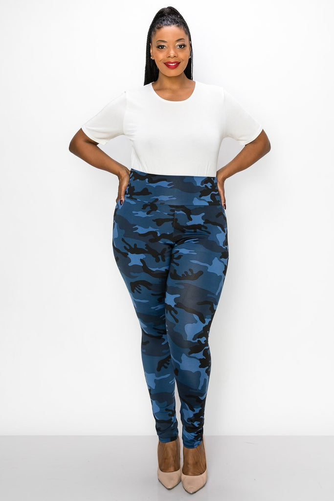 livd women's plus size contemporary boutique camo high waisted legging in blue