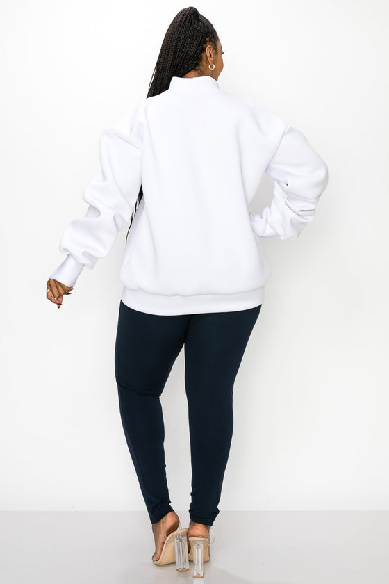 livd L I V D women's contemporary plus size boutique neoprene sweater sweatshirt with exaggerated sleeves in arctic white