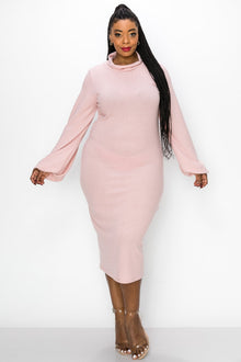livd L I V D women's contemporary plus size boutique hacci knit sweater dress in pale pink