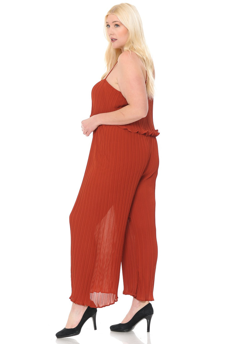 livd L I V D womens plus size cami pleated jumpsuit in terracotta rust oranget