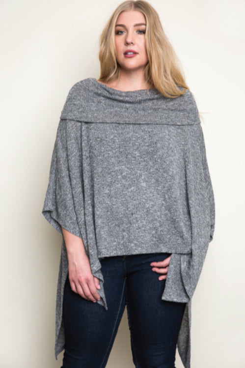 Women's Plus Size Oreo Poncho Sweater