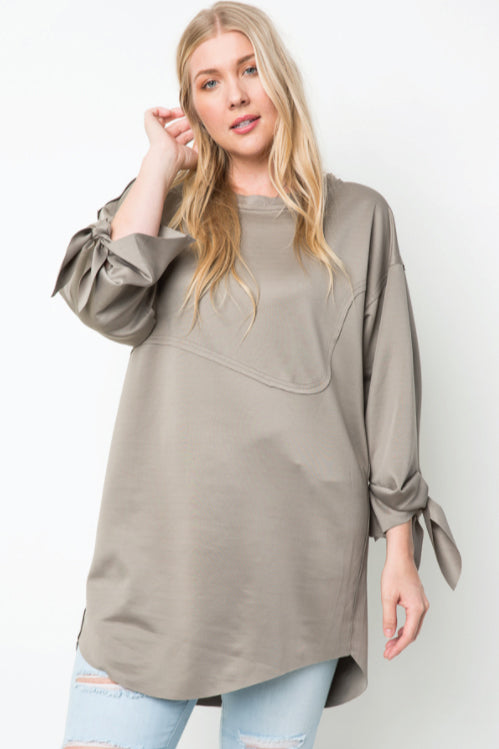 Knot Sleeved Oversized Top