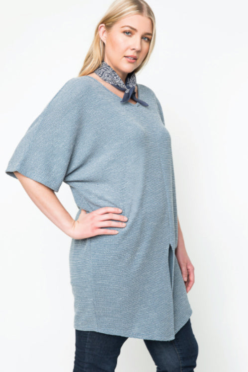 Women's Plus Size Oversized Slit Tee