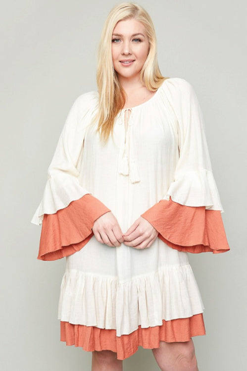 Women's Plus Size Ruffled Tiered Dress