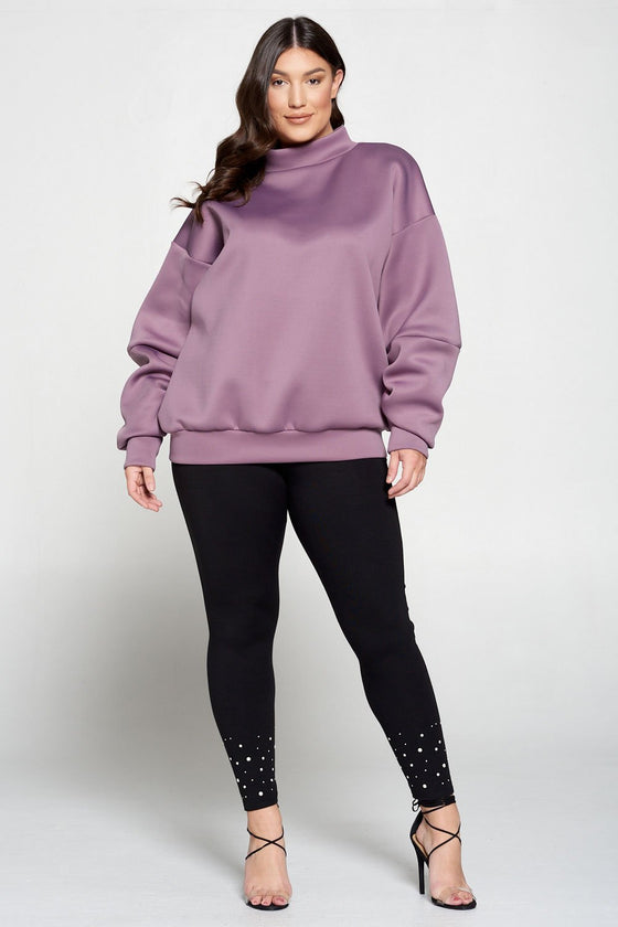 livd L I V D women's contemporary plus size boutique neoprene sweater sweatshirt with exaggerated sleeves in dusty plum lilac purple