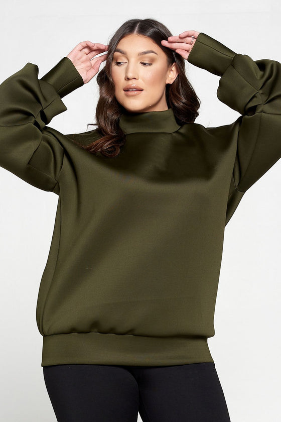 livd L I V D women's contemporary plus size boutique neoprene sweater sweatshirt with exaggerated sleeves in olive green