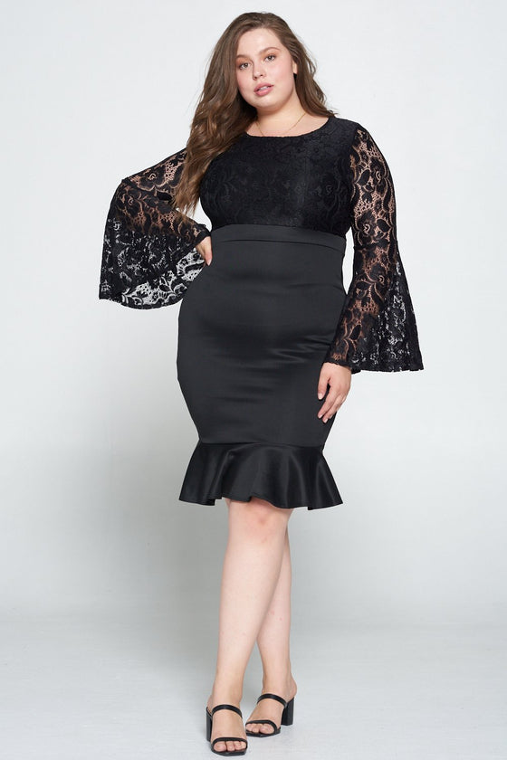 livd L I V D women's trendy contemporary plus size lace dress with bell sleeves and ruffled skirt and invisible zipper in black made in usa