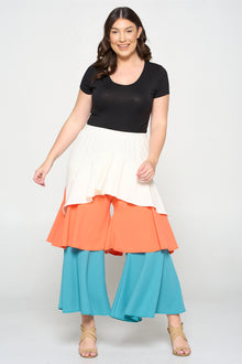Tiered Colorblock Flare Pants