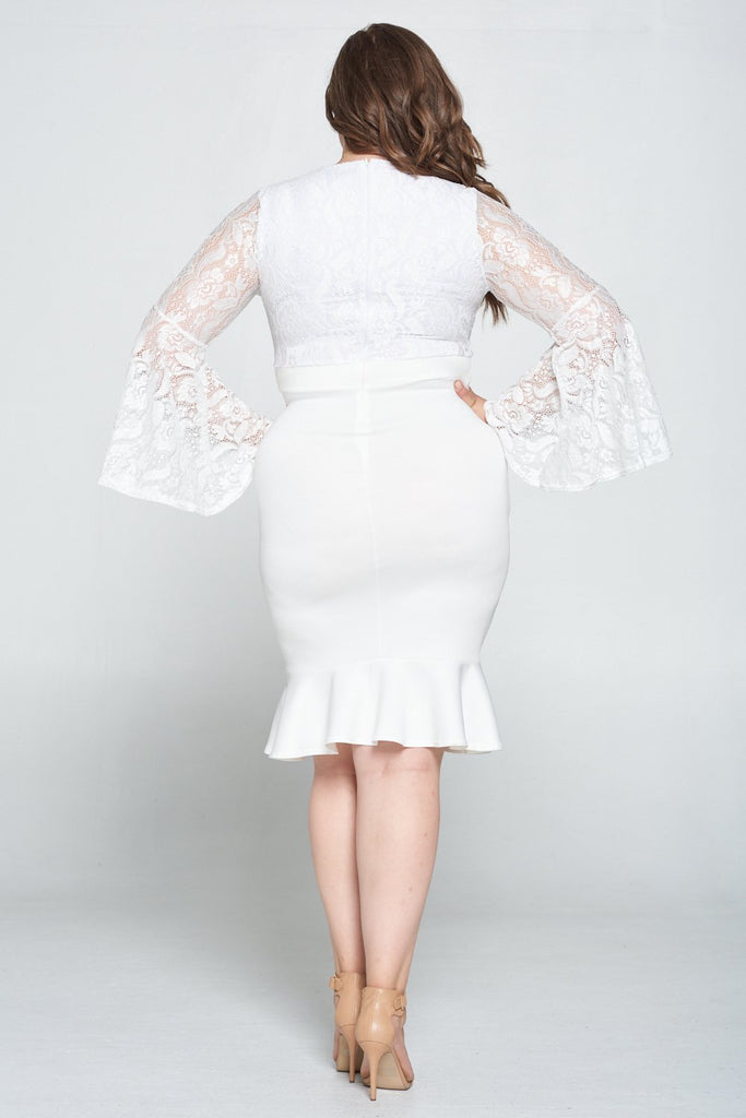 livd L I V D women's trendy contemporary plus size lace dress with bell sleeves and ruffled skirt and invisible zipper MADE IN USA  in ivory white
