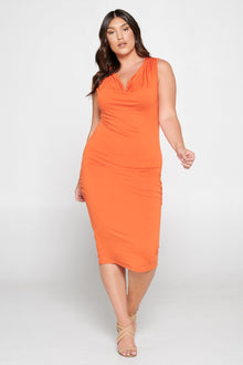 livd L I V D women's contemporary affordable trendy plus size clothing midi dress with neck cowl and hip ruching sleeveless in burnt rust orange