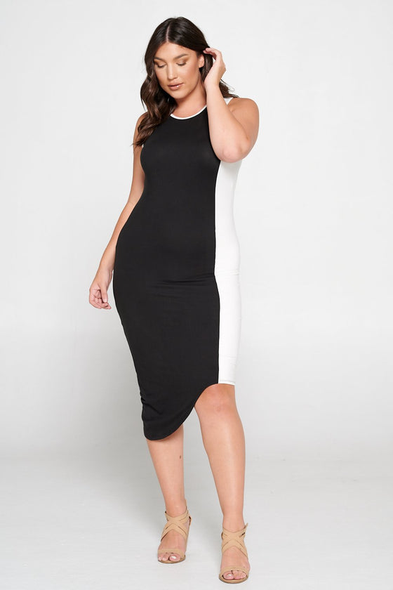 livd L I V D women's contemporary plus size clothing asymmetrical midi colorblock dress with contrast binding in black and off white