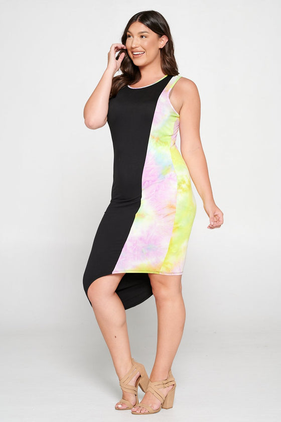 livd L I V D women's contemporary plus size clothing asymmetrical midi colorblock dress with contrast binding in black and yellow pink tie dye