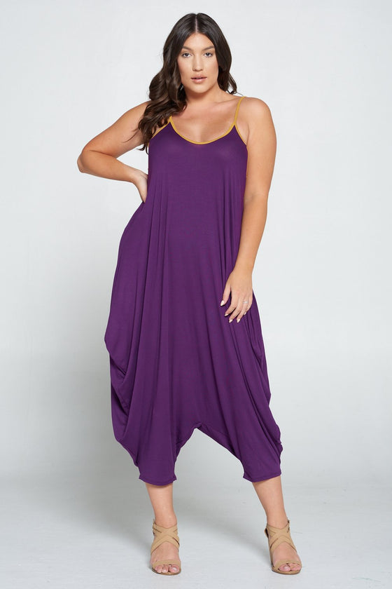 LIVD L I V D women's plus size harem jumpsuit in eggplant purple
