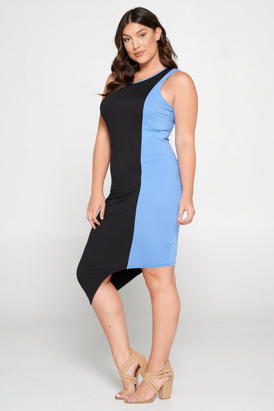 livd L I V D women's contemporary plus size clothing asymmetrical midi colorblock dress with contrast binding in black and chamberry blue