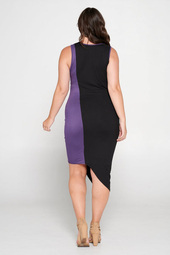 livd L I V D women's contemporary plus size clothing asymmetrical midi colorblock dress with contrast binding in black and dusty wine purple