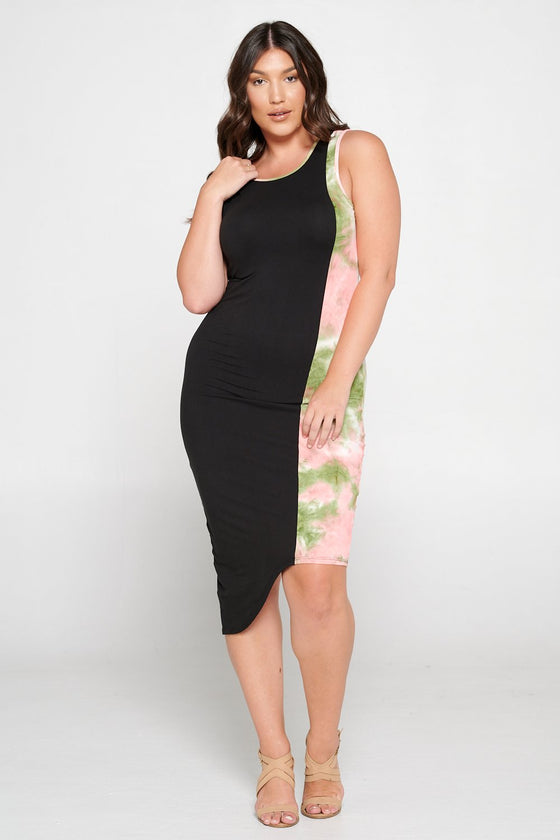 livd L I V D women's contemporary plus size clothing asymmetrical midi colorblock dress with contrast binding in black and olive green and blush pink tie dye
