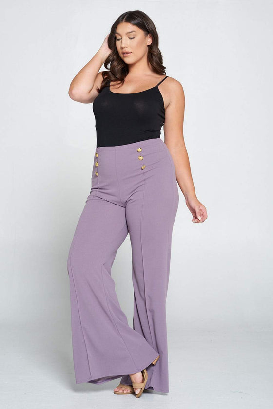 livd L I V D women's trendy contemporary plus size button detail flare pants in dusty wine lt purple