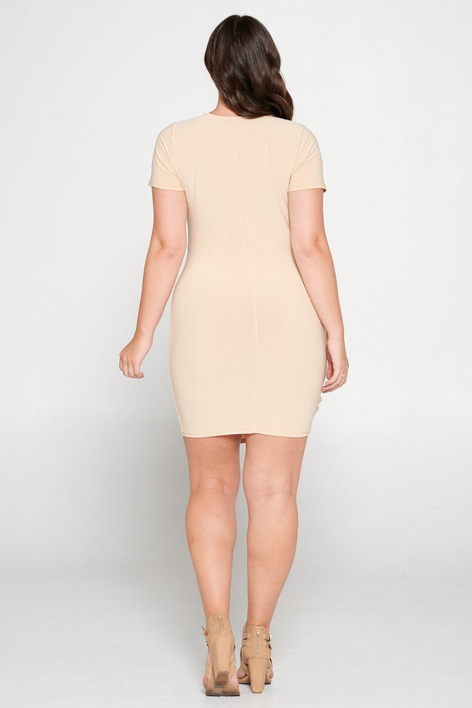 livd L I V D women's trendy contemporary plus size  ruched mini party dress with draping details ity slingky dress in taupe stone beige