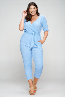 livd apparel plus size boutique contemporary wrap denim jumpsuit waist tie pockets in light blue