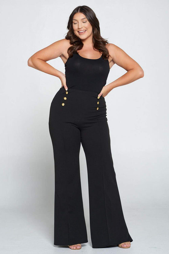 livd L I V D women's trendy contemporary plus size button detail flare pants with elastic waistband in black