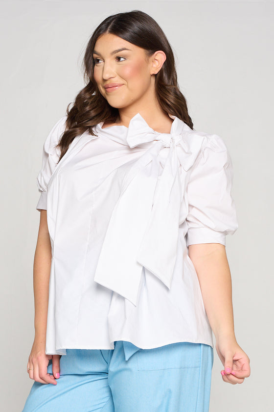 livd apparel neck ribbon babydoll blouse top in white