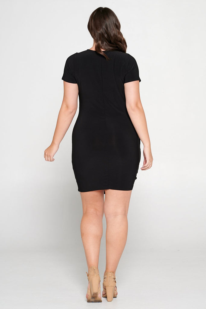 livd L I V D women's trendy contemporary plus size  ruched mini party dress with draping details ity slingky dress in BLACK