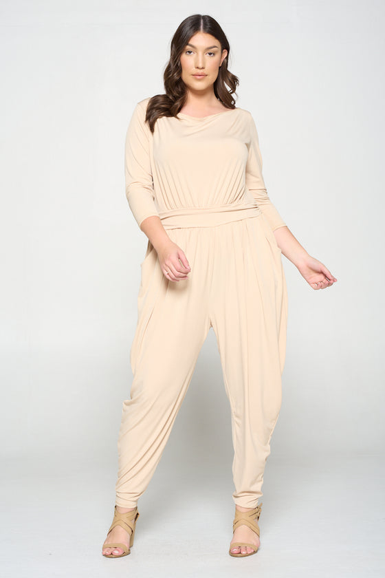 plus size boutique ity jumpsuit in taupe